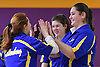 Alexis Kotanidis of Kellenberg, right, gets congratulated after rolling a strike in the Nassau-Suffolk CHSAA league championship against St. Dominic at Farmingdale Lanes on Monday, Feb. 13, 2017.