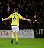 Blackburn Rovers' Richard Smallwood reacts after he was shown a red card by referee Anthony Taylor<br /> <br /> Photographer Chris Vaughan/CameraSport<br /> <br /> The EFL Sky Bet Championship - Sheffield United v Blackburn Rovers - Saturday 29th December 2018 - Bramall Lane - Sheffield<br /> <br /> World Copyright © 2018 CameraSport. All rights reserved. 43 Linden Ave. Countesthorpe. Leicester. England. LE8 5PG - Tel: +44 (0) 116 277 4147 - admin@camerasport.com - www.camerasport.com
