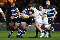Henry Thomas of Bath Rugby takes on the Worcester Warriors defence. Aviva Premiership match, between Worcester Warriors and Bath Rugby on January 5, 2018 at Sixways Stadium in Worcester, England. Photo by: Patrick Khachfe / Onside Images