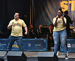 Brian Ray Norris and Jai'Len Christine performing at the United Airlines Presents: #StarsInTheAlley Produced By The Broadway League on June 1, 2018 in New York City.