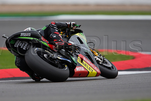 26th August 2017, Silverstone Circuit, Northamptonshire, England; British MotoGP, Qualifying; Monster Yamaha Tech 3 MotoGP rider Johann Zarco leans into the Loop corner