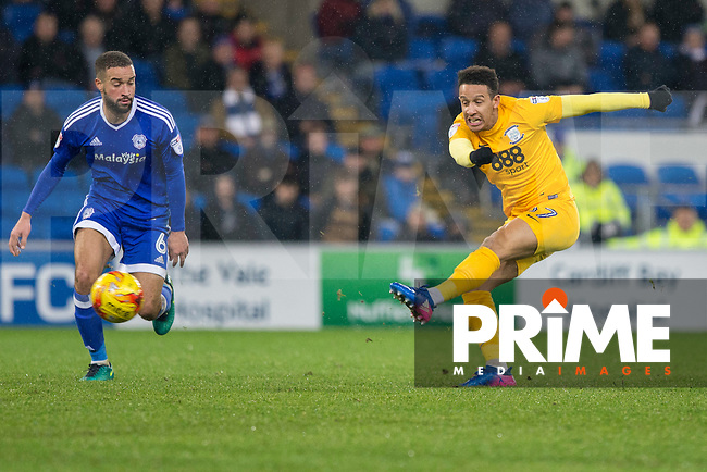 Callum Robinson of Preston shoots at goal under pressure from Jazz Richards of Cardiff City during the Sky Bet Championship match between Cardiff City and Preston North End at the Cardiff City Stadium, Cardiff, Wales on 31 January 2017. Photo by PRiME Media Images / Mark  Hawkins.