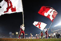 Jan 7, 2010; Pasadena, CA, USA; Alabama Crimson Tide cheerleaders perform before the 2010 BCS national championship game against the Texas Longhorns at the Rose Bowl.  Mandatory Credit: Mark J. Rebilas-