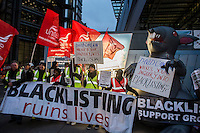 Blacklist Support Group protest at Laing O'Rourke City of London Cheesgrater site on National Day of Action against Blacklisting 20-11-13 They briefly blocked Leadenhall street.