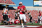 Wisconsin Badgers running back Jonathan Taylor (23) scores a touchdown during an NCAA Big Ten Conference football game against the Maryland Terrapins Saturday, October 21, 2017, in Madison, Wis. The Badgers won 38-13. (Photo by David Stluka)