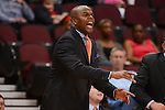 March 8, 2014; Las Vegas, NV, USA; Pepperdine Waves head coach Marty Wilson instructs against the St. Mary's Gaels during the second half of the WCC Basketball Championships at Orleans Arena.