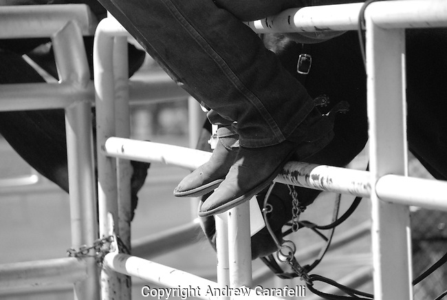 A bronc rider at a Rodeo in Colorado rest before his next go round.