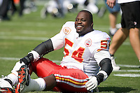 November 08, 2009:    Kansas City Chiefs guard Brian Waters (54) warms up prior to the start of action  between the AFC West  Kansas City Chiefs and AFC South Jacksonville Jaguars at Jacksonville Municipal Stadium in Jacksonville, Florida............