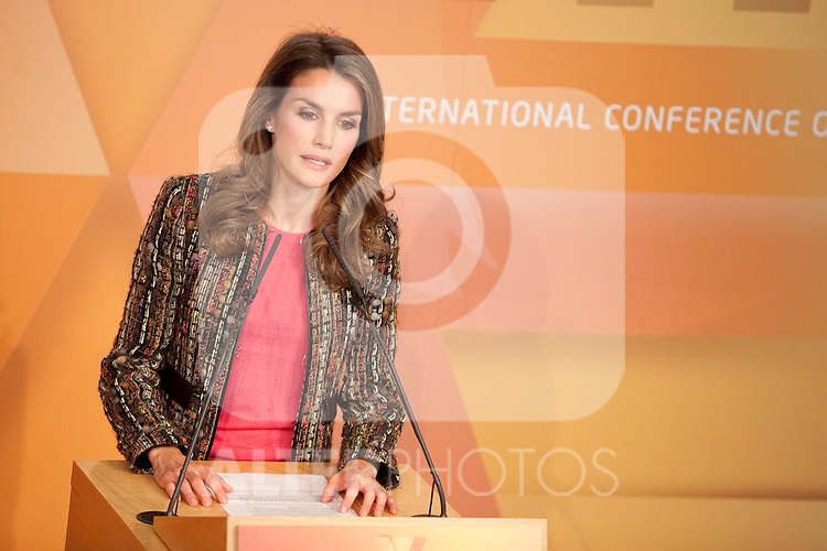 Princess Letizia Ortiz of Spain attends the 1st International Congress Against Gender Violence inauguration at Fundacion Canal building in Madrid, Spain. November 05, 2013. (ALTERPHOTOS/Victor Blanco)