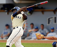 13 April 2008: Florida International center fielder Lammar Guy (42) bats in the sixth inning of the Middle Tennessee 11-8 victory over FIU in 10 innings at University Park Stadium in Miami, Florida.