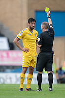 Bolton Wanderers' Jason Lowe (left) is shown a yellow card for a bad foul<br /> <br /> Photographer David Horton/CameraSport<br /> <br /> The EFL Sky Bet League One - Gillingham v Bolton Wanderers - Saturday 31st August 2019 - Priestfield Stadium - Gillingham<br /> <br /> World Copyright © 2019 CameraSport. All rights reserved. 43 Linden Ave. Countesthorpe. Leicester. England. LE8 5PG - Tel: +44 (0) 116 277 4147 - admin@camerasport.com - www.camerasport.com