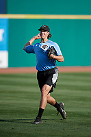 West Virginia Black Bears pitcher Shea Murray (17) warms up before a game against the State College Spikes on August 30, 2018 at Medlar Field at Lubrano Park in State College, Pennsylvania.  West Virginia defeated State College 5-3.  (Mike Janes/Four Seam Images)