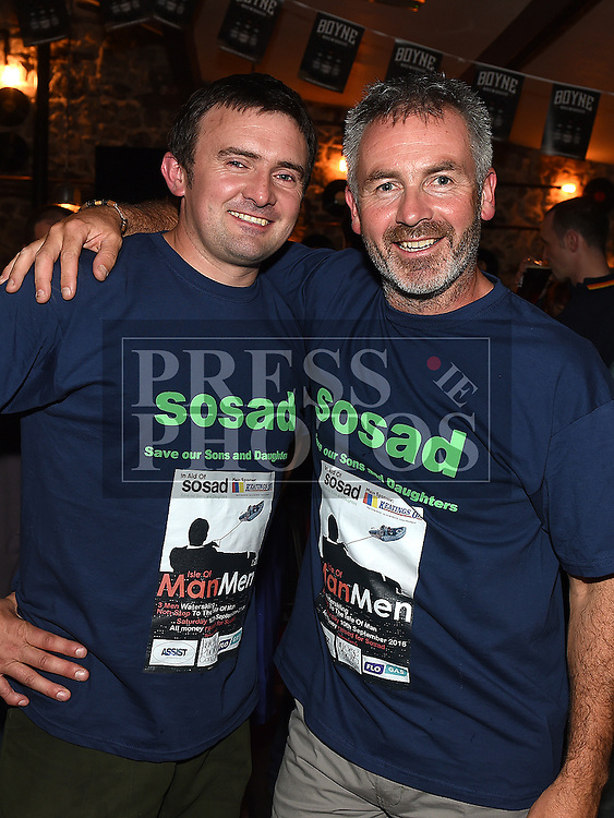 Liam Reilly and Derek Lynch who are going to waterski to the Isle of Man to raise funds for SOSAD pictured at the launch night in Odd Mollies. Photo:Colin Bell/pressphotos.ie