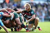 David Denton of Leicester Tigers looks on at a scrum. David Denton of Leicester Tigers looks on at a scrum. Gallagher Premiership match, between Leicester Tigers and Worcester Warriors on September 21, 2018 at Welford Road in Leicester, England. Photo by: Patrick Khachfe / JMP