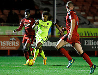 Exeter City's Ollie Watkins runs at the Crawley Town FC defence during the Sky Bet League 2 match between Crawley Town and Exeter City at Broadfield Stadium, Crawley, England on 28 February 2017. Photo by Carlton Myrie / PRiME Media Images.