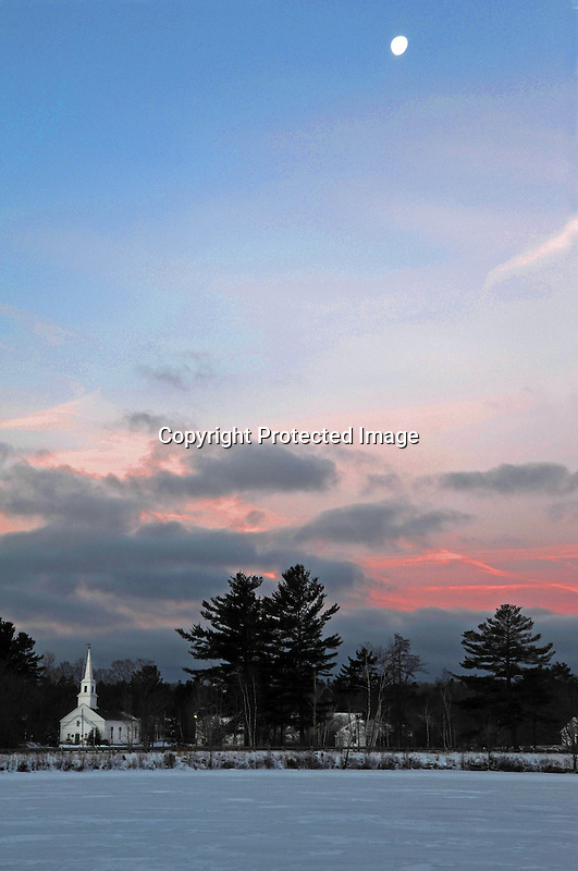 Moon Shining over the Rural Village of Marlow, New Hampshire