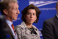 Washington, DC - February 19, 2016: Gov. Gina Raimondo of Rhode Island listens to Tom Steyer (l), founder NextGen Climate,  during a panel discussion on climate and clean energy at the Center for American Progress in the District of Columbia, February 19, 2016. (Photo by Don Baxter/Media Images International)