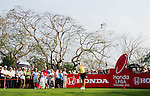CHON BURI, THAILAND - FEBRUARY 16:  Paula Creamer of USA tees off on the 18th hole during day one of the LPGA Thailand at Siam Country Club on February 16, 2012 in Chon Buri, Thailand.  Photo by Victor Fraile / The Power of Sport Images