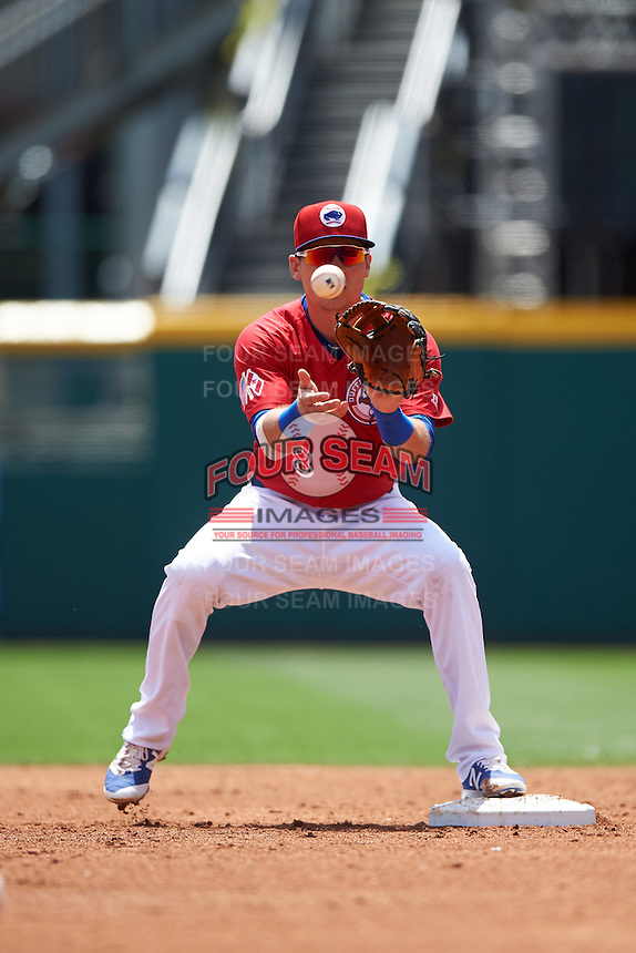 Buffalo Bisons second baseman Andy Burns (8) waits for a throw during a game against the Scranton/Wilkes-Barre RailRiders on July 2, 2016 at Coca-Cola Field in Buffalo, New York.  Scranton defeated Buffalo 5-1.  (Mike Janes/Four Seam Images)