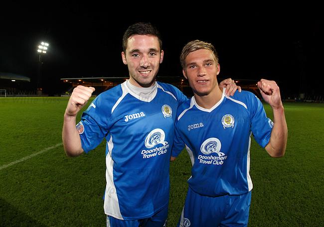 Goalscorers Nicky Clark and Gavin Reilly