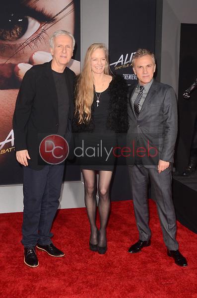 "James Cameron, Suzy Amis Cameron, Christoph Waltz<br /> at the ""Alita Battle Angel"" Premiere, Village Theater, Westwood, CA 02-05-19<br /> David Edwards/DailyCeleb.com 818-249-4998"