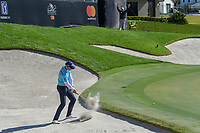 Henrik Stenson (SWE) hits from the trap on 18 during round 1 of the Arnold Palmer Invitational at Bay Hill Golf Club, Bay Hill, Florida. 3/7/2019.<br /> Picture: Golffile | Ken Murray<br /> <br /> <br /> All photo usage must carry mandatory copyright credit (© Golffile | Ken Murray)