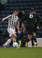 Paul McGowan takes on Kelvin Wilson in the St Mirren v Celtic Scottish Communities League Cup Semi Final match played at Hampden Park, Glasgow on 27.1.13.