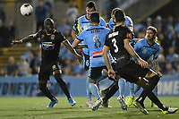 1st November 2019; Leichhardt Oval, Sydney, New South Wales, Australia; A League Football, Sydney Football Club versus Newcastle Jets; Alex Wilkinson of Sydney gets a boot to clear danger in the penalty area - Editorial Use