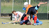 Scottish Hockey League - Western Wildcats V Grange HC at Auchenhowie, Milngavie - Western forward Dougie Simpson is tackled by Grange 'keeper Josep Torrens and defender Robert Barr - the match ended 3-3 - picture by Donald MacLeod 25.09.10 - mobile 07702 319 738 - clanmacleod@btinternet.com - www.donald-macleod.com