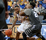 SIOUX FALLS, SD - DECEMBER 27:  Deondre Parks #0 from South Dakota State University drives against the pressure of Quavius Copeland #24 from Middle Tennessee State in the first half of their game at the Sanford Pentagon December 27, 2015 in Sioux Falls, South Dakota. (Photo by Dave Eggen/Inertia)
