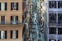 Busy Via del Condotti street, Rome Italy