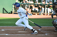 Jimmy Allen (16) of the Ogden Raptors at bat against the Great Falls Voyagers in Pioneer League action at Lindquist Field on July 16, 2014 in Ogden, Utah.  (Stephen Smith/Four Seam Images)
