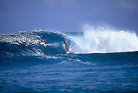 Big wave surfer Ross Clarke Jones (AUS) surfing a rare right-hander on a Tahitian outer island. Circa 1993. Photo: joliphotos.com