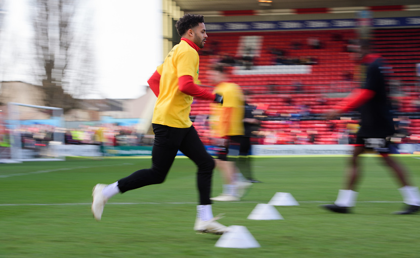 Lincoln City's Bruno Andrade during the pre-match warm-up<br /> <br /> Photographer Chris Vaughan/CameraSport<br /> <br /> The EFL Sky Bet League Two - Lincoln City v Northampton Town - Saturday 9th February 2019 - Sincil Bank - Lincoln<br /> <br /> World Copyright © 2019 CameraSport. All rights reserved. 43 Linden Ave. Countesthorpe. Leicester. England. LE8 5PG - Tel: +44 (0) 116 277 4147 - admin@camerasport.com - www.camerasport.com