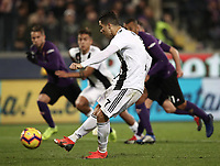 Calcio, Serie A: Fiorentina - Juventus, stadio Artemio Franchi Firenze 1 dicembre 2018.<br /> Juventus' Cristiano Ronaldo kicks a penalty and scores  during the Italian Serie A football match between Fiorentina and Juventus at Florence's Artemio Franchi stadium, December 1, 2018.<br /> UPDATE IMAGES PRESS/Isabella Bonotto