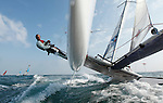 Training session on F18 before the Eurocat 2011, the great catamaran in Carnac, Brittany, France..Darren Bundock.Jeroen Van Leeuwen.C2 Formula 18