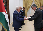 Palestinian President Mahmoud Abbas receives the credentials of the Ambassador of Montenegro to the State of Palestine, in the West Bank city of Ramallah, August 01, 2019. Photo by Thaer Ganaim
