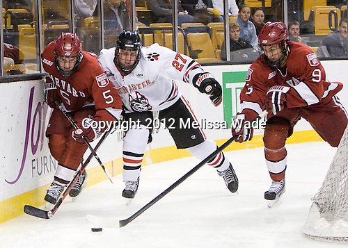 Dan Ford (Harvard - 5), Alex Tuckerman (Northeastern - 27), Danny Biega (Harvard - 9) - The Harvard University Crimson defeated the Northeastern University Huskies 3-2 in the 2012 Beanpot consolation game on Monday, February 13, 2012, at TD Garden in Boston, Massachusetts.