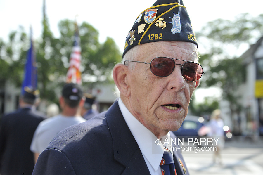 Adjutant Robert Tom Riordan of American Legion Merrick Post 1282, the cochair of Merrick Memorial Day Parade and Ceremony on May 28, 2012, on Long Island, New York, USA. America's war heroes are honored on this National Holiday.