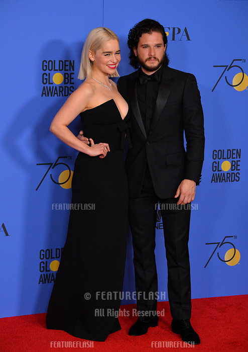 Emilia Clarke & Kit Harington at the 75th Annual Golden Globe Awards at the Beverly Hilton Hotel, Beverly Hills, USA 07 Jan. 2018<br /> Picture: Paul Smith/Featureflash/SilverHub 0208 004 5359 sales@silverhubmedia.com