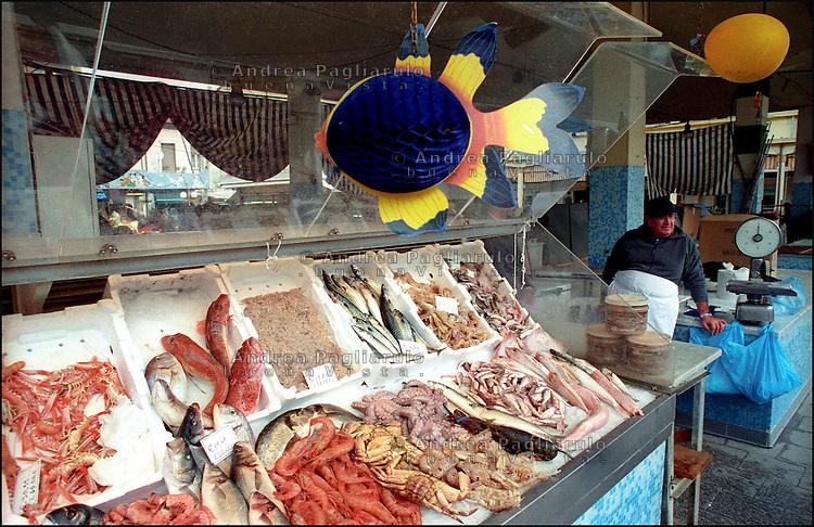 Viareggio, mercato del pesce. Viareggio, fish market.