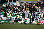 17th March 2019, Dens Park, Dundee, Scotland; Ladbrokes Premiership football, Dundee versus Celtic; Celtic celebrates at the end of the match