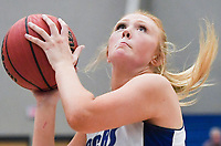 NWA Democrat-Gazette/CHARLIE KAIJO Rogers High School forward Ally Figenskau (34) takes a shot, during the Great 8 Tournament, Thursday, November 29, 2018 at King Arena at Rogers High School in Rogers.