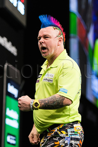 28.04.2016. Barclaycard Arena, Birmingham, England. Betway PDC Premier League Darts. Night 13. Peter Wright celebrates his win against Phil Taylor.