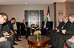 Palestinian President Mahmoud Abbas meets with the Secretary General of the League of Arab States Ahmed Aboul Gheit , in New York City, U.S. September 18, 2017. Photo by Osama Falah