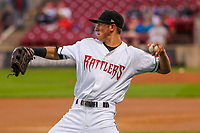 Wisconsin Timber Rattlers outfielder Ryan Aguilar (21) during a Midwest League game against the Beloit Snappers on August 30, 2017 at Fox Cities Stadium in Appleton, Wisconsin. Wisconsin defeated Beloit 4-0. (Brad Krause/Four Seam Images)