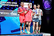 18th March 2018, Arena Birmingham, Birmingham, England; Yonex All England Open Badminton Championships; Yuta Watanabe (JPN) and Arisa Higashino (JPN) pose for the cameras after winning in the mixed doubles final against Zheng Siwei (CHN) and Huang Yaqiong (CHN)