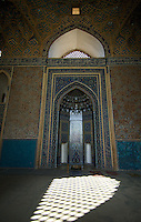 The stunning mihrab in the magnificent Jameh (Friday) Mosque at Yazd, Iran. The mosque was built in the 15th century and is famous for its blue tiles and its very tall entrance portal.