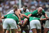 Geoff Parling and Tom Wood of England and Paul O'Connell of Ireland compete at a maul. QBE International match between England and Ireland on September 5, 2015 at Twickenham Stadium in London, England. Photo by: Patrick Khachfe / Onside Images