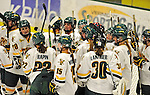 11 February 2011: University of Vermont Lady Catamounts celebrate a win over the University of New Hampshire Wildcats at Gutterson Fieldhouse in Burlington, Vermont. The Catamounts defeated the visiting Lady Wildcats 4-2 in Hockey East play. Mandatory Credit: Ed Wolfstein Photo